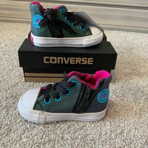 Multi colored infant high top converse
